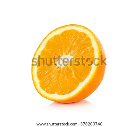 Half sliced orange isolated on the white background.