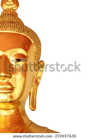 half the face closeup buddha statue in buddhist temple wat pho, bangkok, thailand isolated on white background  - stock photo