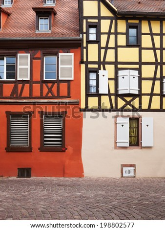 Half timbered house facade in Colmar, Alsace, France