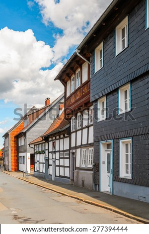 Half-timbered House in the Old town of Gorlar, Lower Saxony, Germany. Old town of Goslar is a UNESCO World Heritage - stock photo