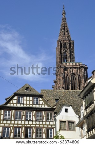 Half timbered houses and Cathedral Landmark of Strasbourg, Alsace France