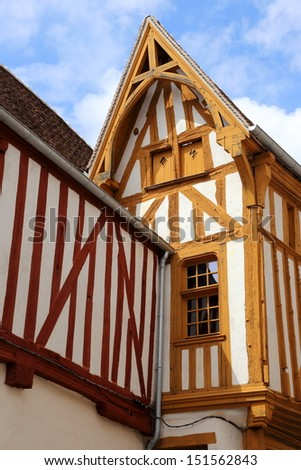 Half-timbered houses in Noyers-Sur-Serein in Burgundy