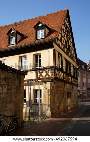 Half timbered renaissance house  in   Bamberg, Germany