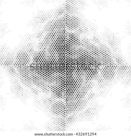 Halftone abstract black and white dotted line illustration background