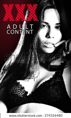 Halftone banner with xxx and woman for adult design - stock photo