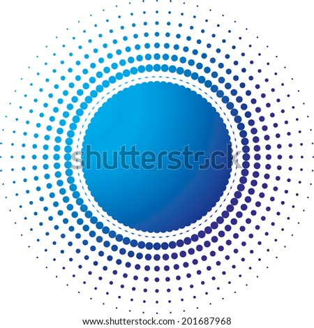 Halftone dots in the form of a circle filled with a gradient from blue to dark blue - stock photo