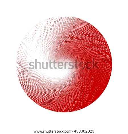 Halftone Wave Background. Red and White Dots Pattern. Raster Illustration