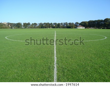 Halfway line of a football pitch