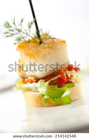 Halibut Fish with Mixed Pepper - stock photo