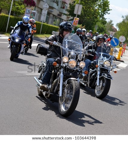 HALIC, SLOVAKIA - MAY 28: Unidentified bikers during the BIKE PARTY HALIC 2012 on May 28, 2012 in Halic, Slovakia