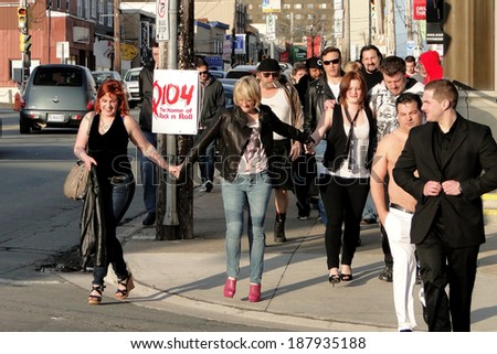 HALIFAX, CANADA - APR 16:  The cast of Trailer Park Boys walk to the Oxford Theater for the premiere of their new movie Don't Legalize It Apr 16, 2014 Oxford theater in Halifax Canada. - stock photo
