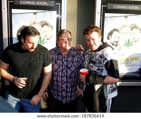 HALIFAX, CANADA - APR 16:  The Trailer Park Boys, JP Tremblay, Mike Smith and Robb Wells before the premiere of their new movie Don't Legalize It Apr 16, 2014 Oxford theater in Halifax Canada. - stock photo