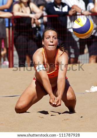 HALIFAX, CANADA - SEPTEMBER 1: Christine Aulenbrock of Germany competes at the FIVB Beach Volleyball SWATCH Junior World Championships on Sept. 1, 2012 in Halifax, Canada. - stock photo