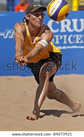 HALIFAX, CANADA - SEPTEMBER 2: Jonas Schroder of Germany at the FIVB Beach Volleyball Swatch Junior World Championships on Sept. 2, 2011 in Halifax, Canada. - stock photo