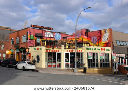 HALIFAX, NOVA SCOTIA, CANADA - DEC 29, 2014: Sicilian pizza donairs subs shop is a popular spot, especially at night, in what is known at pizza corner in Halifax, Nova Scotia. - stock photo