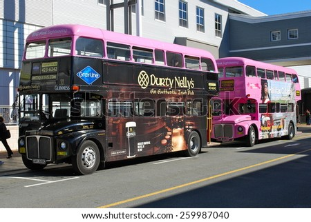 HALIFAX, NOVA SCOTIA, CANADA  - MARCH 5: A Routemaster Bus operating a tourist service for cruise passengers in Halifax, Nova Scotia, on March 5, 2014 in Halifax, Nova Scotia, Canada.  - stock photo