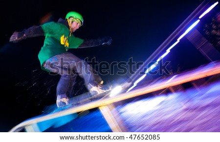 HALIFAX, NS - February 27: Snowboard riders compete in the 2010 Urban Butter snowboard showcase February 27, 2010 in Halifax, Nova Scotia. The competition is the largest in Atlantic Canada. - stock photo