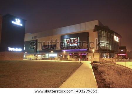 HALIFAX, UK - APRIL 3, 2016: Broad Street Plaza shopping development in Halifax, Yorkshire, UK. Halifax is a Minster town and well known for the manufacture of wool from the 15th century