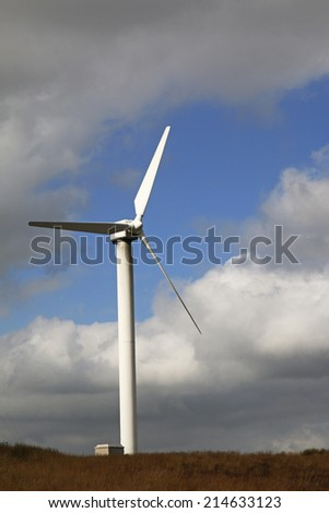 HALIFAX, WEST YORKSHIRE - SEPTEMBER 1, 2014: The 23 turbines of Ovenden Moor wind farm are supplying sustainable clean, green power and have now been doing for over 15 years.