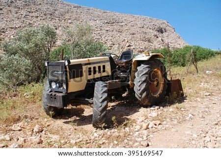 HALKI, GREECE - JUNE 15, 2015: A Lamborghini tractor at Chorio on the Greek island of Halki. First manufactured by Lamborghini Trattori in 1948, the brand is now owned by Italian based SDF Group.