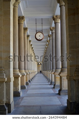 hall at the train station and hanging clock