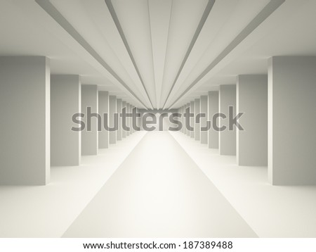 Hall, corridor with columns and podium. The concept of goals and a bright future. 3D visualization of the interior. - stock photo