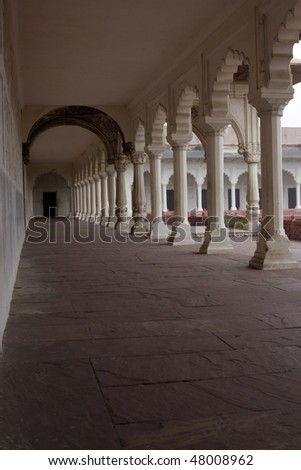 Hall in Agra fort in India