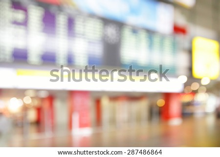 Hall in airport out of focus  - bokeh background - stock photo