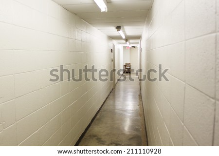 Hall in prison - stock photo