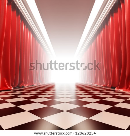 Hall of fame. A 3d illustration of empty hall with red curtains in victorian style. - stock photo