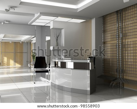 Hall of office in agoy 3d image