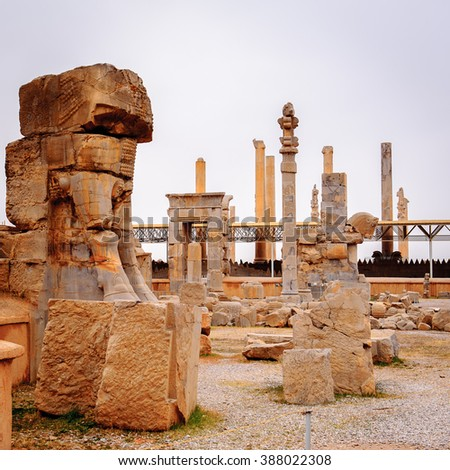 Hall of the 100 columns in the ancient city of Persepolis, Iran. UNESCO World heritage site - stock photo