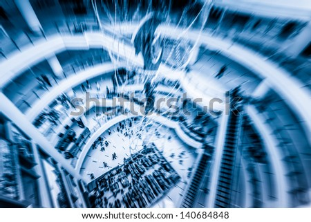 hall of the moden mall in shanghai china. - stock photo