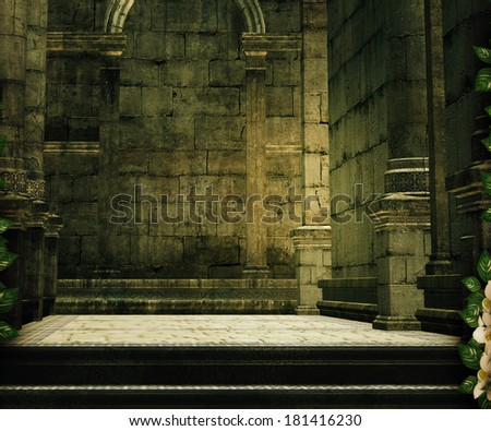 Hall Premade Medieval Backdrop - stock photo