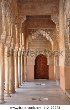 Hall way in Alhambra 3 - stock photo