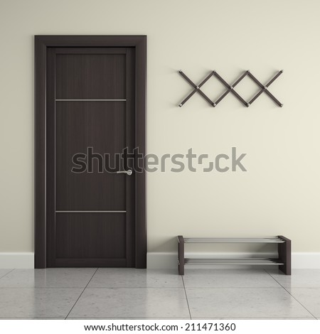 Hall with door, hanger and  stand for shoes - stock photo