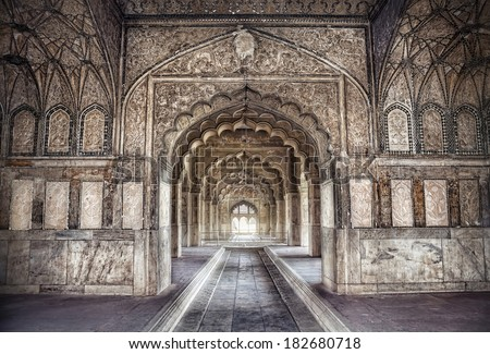 Hall with ethnic ornament in Khas Magal, Red Fort, Old Delhi, India - stock photo