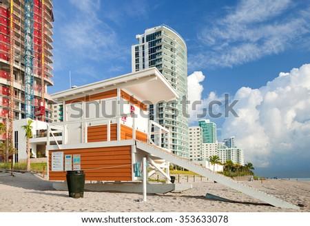 Hallandale Beach Florida, lifeguard house in the morning - stock photo