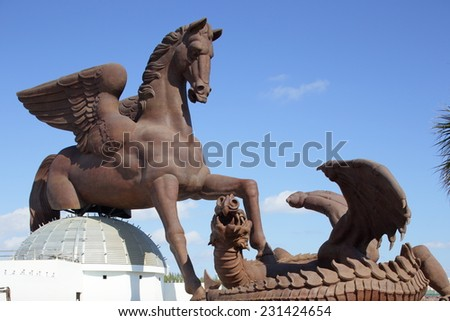 HALLANDALE - NOVEMBER 16: Image of the Pegasus Theme Park installation at Gulfstream Park November 16, 2014 in Hallandale USA - stock photo