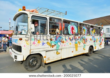 HALLE, BELGIUM-MARCH 29, 2014: decorated bus in defile during yearly Carnival of Halle