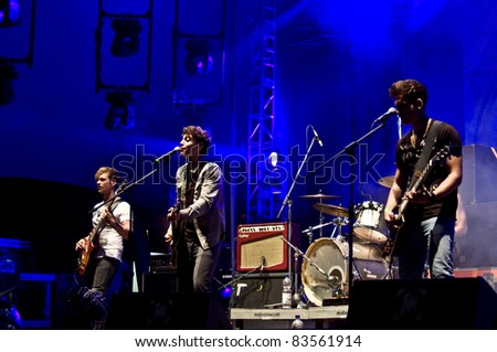 HALLE, GERMANY - AUGUST 27: Members of the Band The Black Pony perform at the 75th Laternenfest on August 27, 2011 in Halle, Germany. - stock photo