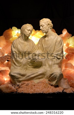 HALLEIN, AUSTRIA - DECEMBER 14: Nativity scene, creche or crib, is a depiction of the birth of Jesus, Hallein, Austria on December 14, 2014. - stock photo