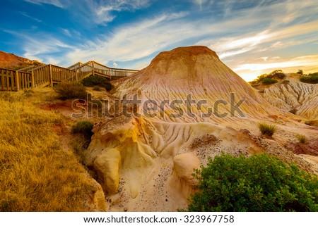 Hallett Cove landscape at sunset. South Australia - stock photo