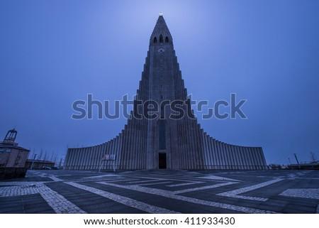 Hallgrímskirkja church - Iceland - stock photo