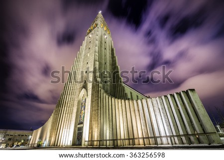 Hallgrimskirkja Cathedral in Reykjavik, Iceland at twilight. - stock photo
