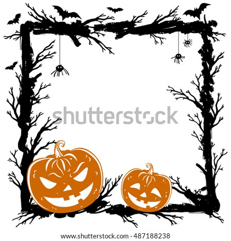 Halloween abstract background with pumpkins, black spiders and bats. Halloween Party template