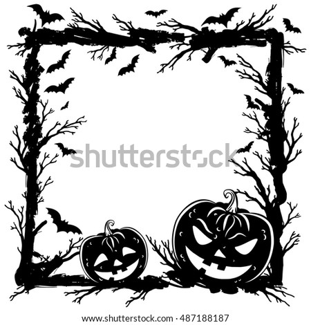 Halloween abstract background with pumpkins, tree branches and bats. Halloween Party template
