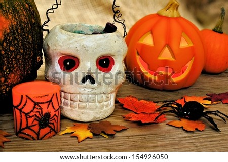 Halloween and autumn decor - stock photo