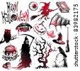 Halloween and horror hand drawn set. (Vector version of this work is available in my portfolio: # 38172508) - stock photo