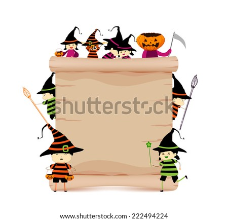 halloween and parchment sign funny - stock photo